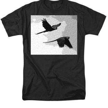 Parrots Drawing - Men's T-Shirt  (Regular Fit)