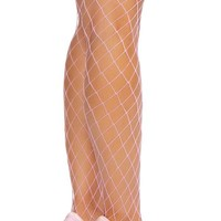 Thigh High Open Fishnet Stocking - Hot Pink