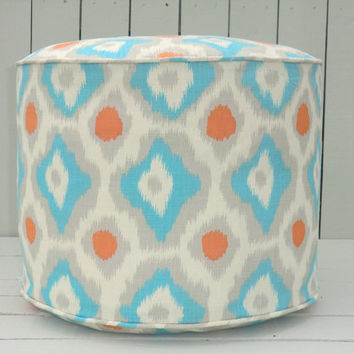"Turquoise pouf ottoman 18"", orange floor cushion, ikat pouf for nursery decor, round ottoman in turquoise and orange, ikat floor pillow"