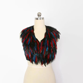 Vintage 70s Feathered VEST / 1970s Boho Cropped Black Teal & Red Genuine Feather Waistcoat