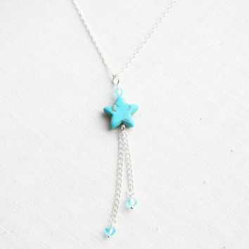 Turquoise Shooting Star Necklace, Silver Chain Necklace, Wire wrapped Crystals, Dainty Jewelry, Everyday Jewelry