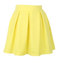 MapleClan Women's Candy Color Skater Flared High Waist Pleated Mini Skirt Yellow - M
