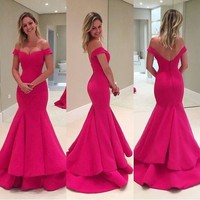 MACloth Off the Shoulder Mermaid Tiered Prom Gown Pink Formal Dress