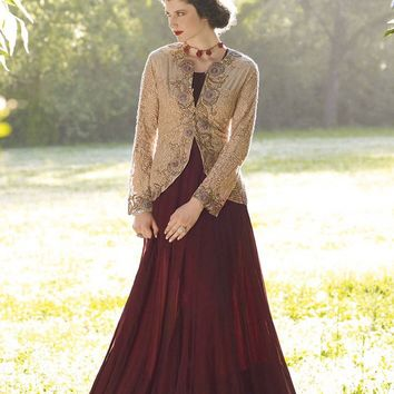 Brown Georgette Unstitched Gown - GOWNS - Women