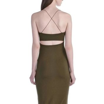 Backless Cotton Spaghetti Strap Slim Dress [7767302599]