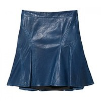 10 Crosby By Derek Lam Blue Tulip Leather Skirt