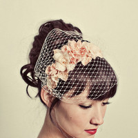 Handmade flowers headband with birdcage veil by mignonnehandmade