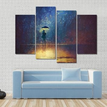 Lonely Woman Under Umbrella Lights In The Dark Multi Panel Canvas Wall Art