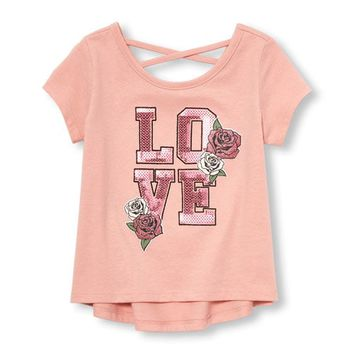 Baby And Toddler Girls Short Sleeve Cross-Back Embellished Graphic Top