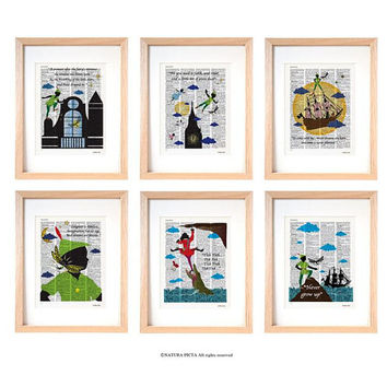 Peter Pan set of 6 art prints-Peter Pan dictionary print-children wall art-nursery prints-gift idea-wall art-custom art print-peter-DP240
