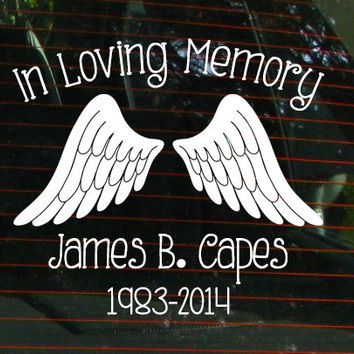 In Loving Memory Car Window Decal With Angel Wings