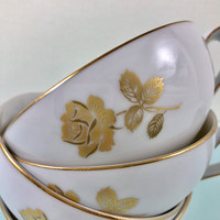 4 1960's Vintage Sango Tea Cups, Gold Rose, Retro China Cups