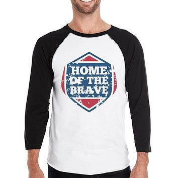 Home of the Brave Mens Baseball T-Shirt 3/4 Sleeve Graphic Tee