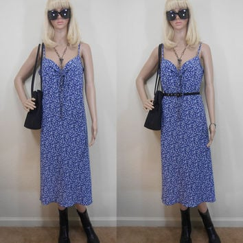 90s, B.Moss Dress Collection, Made in USA, Blue, Flower Print, Calf Length Dress, Spaghetti Straps, Gathered Neckline, Small - Large