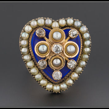 Antique Victorian Enamel Diamond & Pearl Heart Ring, Mid-Victorian Statement Ring