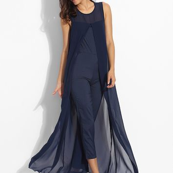 Casual Dacron Patchwork Plain Jumpsuits