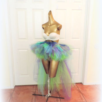 Adult tutu, high low tutu, mermaid tutu, ariel tutu, rave edc tutu, fantasy tutu fairy tutu skirt, ocean tutu, little mermaid, peacock tutu