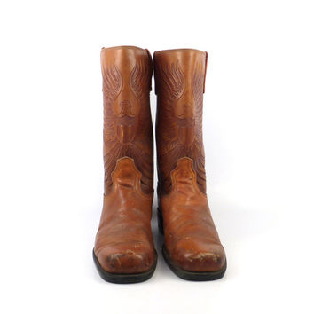 Eagle Campus Boots Vintage 1970s Whiskey Brown Leather men's size 9 D