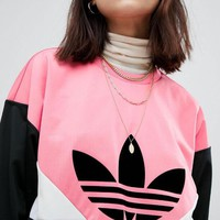 Adidas Fashion Women Loose Clover Print Color Matching Long Sleeve Round Collar Sweater Pullover Top I13187-1