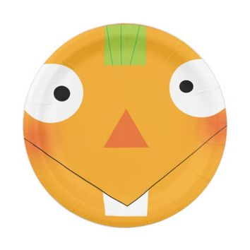 cartoon funny halloween pumpkin face paper plate