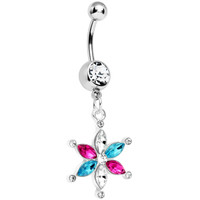 Crystalline Pink Aqua Gem Spring Flower Dangle Belly Ring | Body Candy Body Jewelry
