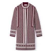 Tory Burch Merino Jacquard Sweater Coat
