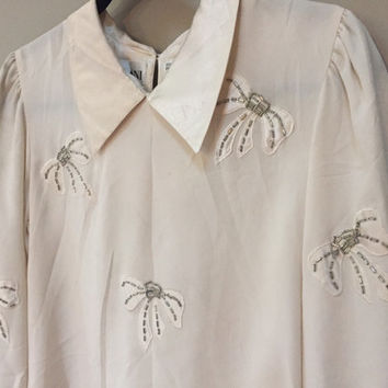 Cream Vintage Blouse, Silver Beaded Bows.  Nilani Vintage 80s Formal Blouse, Off White Puffed Sleeves, Buttons in Back.  Office, Librarian 6