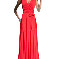 Red Belted Cross Back Maxi Dress