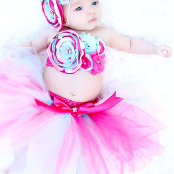 Gorgeous Hot Pink and Aqua Cake Smash Outfit Tutu Set 3 Piece for Baby Girl Newborn-18 Months First Birthday Pageant Dress