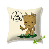 Cute Baby Groot Square Pillow Cover