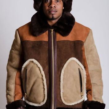 Multi-Color Sheepskin Jacket Style #710 with Hat MENS