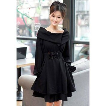 Black Long Sleeves Mini Dress