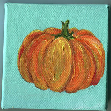 Pumpkin Original little painting on Canvas with Easel, 3 x 3, Home decor, Small Format Art, SFA, Thanksgiving, Holiday decor
