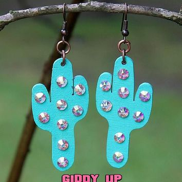 Aqua Cactus Earrings with AB Crystals