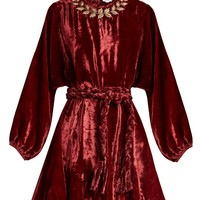 Ella tie-waist embroidered velvet dress | Rhode Resort | MATCHESFASHION.COM UK