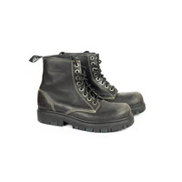LONDON UNDERGROUND BOOTS / black leather / 90s grunge /  8 eye lace up / chunky heavy / combat tactical / mens size 9 - 10
