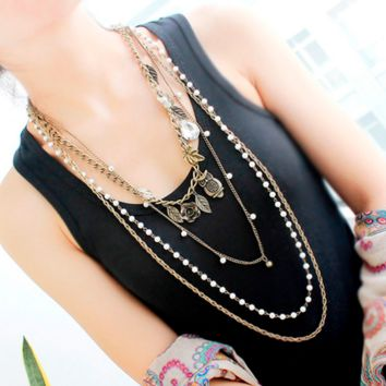 Vintage Jewelry Long Necklace Multi Layer Chains Necklaces Antique Gold Leaf Owl