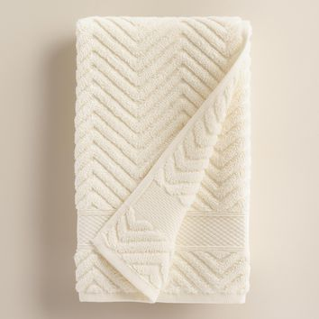 Ivory Chevron Spa Hand Towel