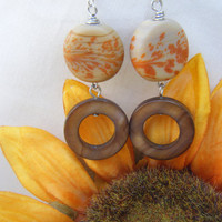 Orange and Tan Painted Glass Coin and Tiger Eye Donut Beaded Earrings