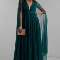 AKIRA Long Sleeve Plunging Neckline Backless Maxi Special Occasion Dress in Sassafras, Junebug Green