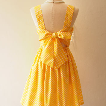 Fairy Wing Yellow Vintage Sundress Back Bow Backless Dress Polka Dot Dress Summer Dress Bridesmaid Dress Retro Rockabilly Dress
