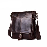 Men's Travel Business Shoulder Bag Briefcase Real Genuine Leather Solid Messenger Crossbody Bags