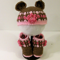 Baby Girl Gift Set-Bear Hat with Boots