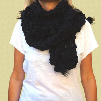 POMPON BLACK SCARF super soft and light, long and chunky hand knitted woman accessory