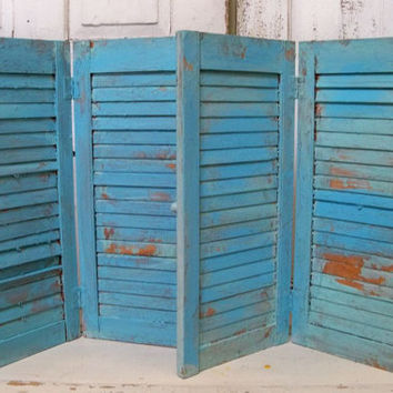 Wooden shutter pair Caribbean blue distressed tall recycled piece shelf wall decor shabby Anita Spero