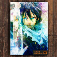 Noragami Yato, INSTANT DOWNLOAD, Anime Poster, Digital Poster, Watercolor Poster, Watercolor Print
