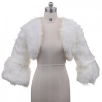 Topwedding Ivory Lace Trimmed Faux Fur Bridal Wedding Jacket