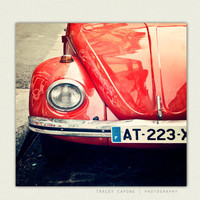 Car Photograph  Vintage Bug  Montmartre Paris by TraceyCapone