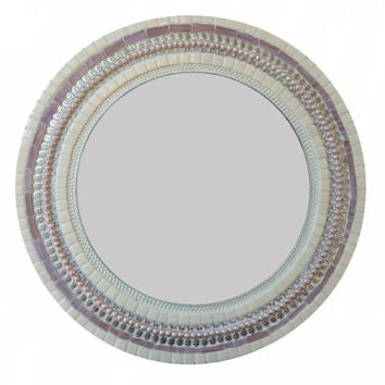 Pink and White Mosaic Accent Mirror,  Shabby Chic Wall Decor