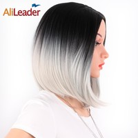 AliLeader Product 2 Tone Black And Gray Ombre Wig, Heat Resistant Kanekalon Synthetic Short Bob Wigs For Women